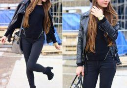 Ngoài việc kết hợp với quần jeans, áo thun đơn giản bạn có thể phối với kiểu quần ôm sát người.
